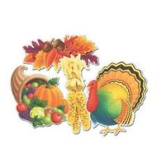 5 Asst Cutouts Thanksgiving Autumn Decorations 1977 Beistle 2 Sided NOS