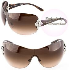 BVLGARI 6069B 102-13 Limited Edition Sunglasses Shield Crystal Tortoise Brown