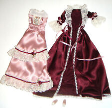Barbie Outfits Burgundy, Pink Nightdress Gown/Robe For Barbie Doll vv00