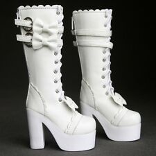 [PF] 49# White Bow 1/4 BJD MSD DZ Dollfie Synthetic Leather Boots / Shoes