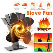 4 Leaves Heat Powered Wood Stove Fan Log Quiet Burner Fireplace Saving Eco Fan