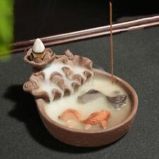New Fish Porcelain Backflow Incense Burner Ceramic Holder For Home/Office U