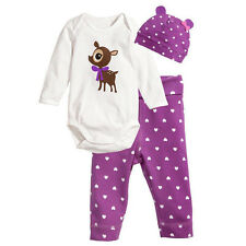 3PCS Baby Kinder Newborn Infant Hut Body Hosen Jogginganzug Outfit Kleidung Set