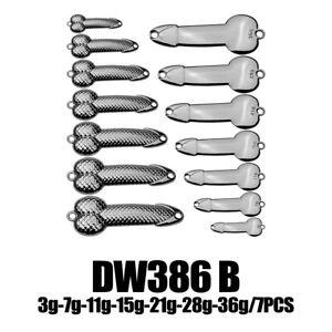 7pcs 0.1-1.2oz Fishing Spoons Lures Metal Jigs Lure Penis Bait Casting Spoon