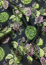 Brocade Chinese  floral blossom oriental asian  Black Fabric
