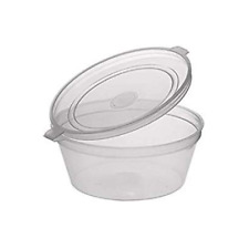 4oz Clear Plastic Food Disposable Take Away Hinged LID SAUCE POT Cup x 100