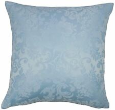 "FILLED JACQUARD FLORAL DAMASK BLUE 18"" 45CM CUSHION TO MATCH CURTAINS"