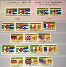 HONDURAS 1968 695-08 Block 9-10 C429-35 + S/S Olympics Mexico City Flags MNH