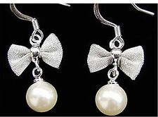 Pretty Tono Argento Rete Fiocco con pendente perla Orecchini