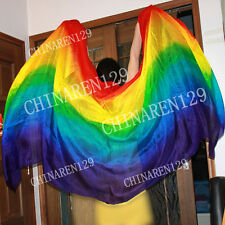 + CARRY BAG BELLY DANCE 100% SILK VEILS rainbow color seven colors FREE SHIPPING