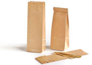 50 Blockbodenbeutel m. Clipsen 100 g Teetüten Kraftpapiertüten Klotzbodenbeutel