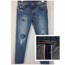 Levis 501 CT Selvedge Redline Distressed Denim Jeans Patched 33x34 (Fit 32x32.5)