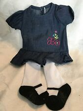 "Lakeside Collection Doll Clothes-Blue Dress/Tights fits American Girl/18"" dolls"