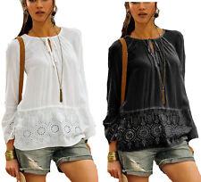Hippie Boho Tunika Bluse schwarz + weiß Gr. 40 bis 56 mit Stickerei 62553/64350