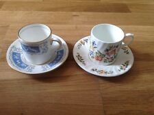 2 Coffee Cans & Saucers 1 by Coalport Revelry & 1 By Aynsley Cottage Garden.