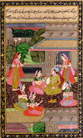 Indian Miniature Painting Mughal Emperor Enjoying The wine with Lady's Mogul Art