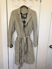 ROGAN Trench Coat Khaki Beige Long Sleeve Belted Basic Jacket L Large * RARE!