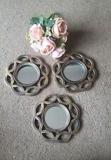 Set of 3 Brushed Bronze Wall Hung Mirrors 25cm x 25cm Bathroom Bedroom