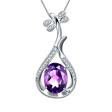 Women 925 Sterling Silver Purple Crystal Pendant Necklace Fashion Chain Jewelry