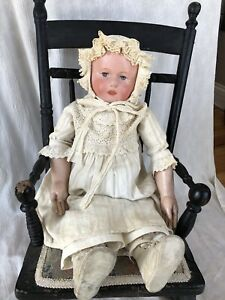Antique  Martha Chase Huge stockinet Doll Oil Cloth Adorable and stunning!