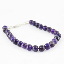 96.50 Cts Natural Untreated Purple Amethyst Round Beads Bracelet - Hand Made