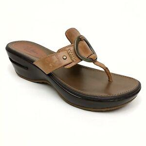 ✅❤️✅@ COLE HAAN NikeAir Women Leather Thong Flip Flop Open Toe Sandal 8 B Brown