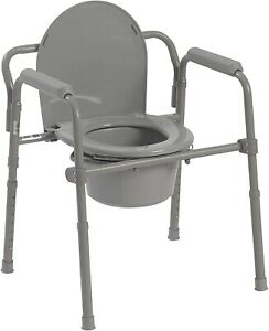 Adult Toilet Seat Potty Chair Folding Commode Chamber Bedside Portable Gray NEW
