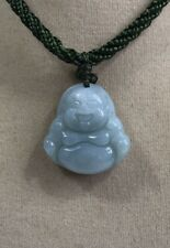 """Handcrafted knot work adjustable green jade """"Happy Buddha"""" pendant necklace"""