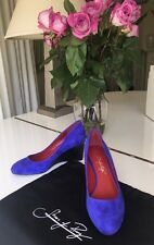Shoes of Prey blue suede wedge Womens Shoes 5.5  NEW
