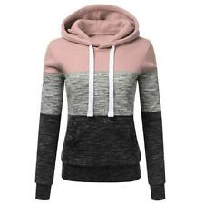 Stitching Women Long Sleeve Hit Color Autumn Leisure Hoodies (Pink M)
