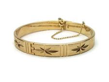 Vintage Sarah Coventry Hinged Bangle Bracelet - Gold Etched Star Bracelet 175f