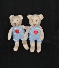 Lot 2 peluche doudou ours bleu IKEA salopette fixe coeur rouge 24 cm TTBE