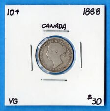 Canada 1888 10 Cents Ten Cent Silver Coin - Very Good