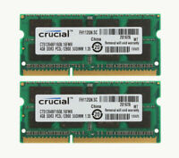 Crucial 8GB ( 2x 4GB ) 2Rx8 PC3L-12800 DDR3 1600Mhz Memory SODIMM Laptop RAM 4GB