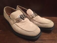 Mens Cesare Paciotti Suede Leather Italian Loafers Shoes US 6 Cream Beige Buckle