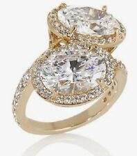 Absolute Jean Dousset 8.88ct Moiettoi SS Oval Bypass Gold tone Ring Size 6