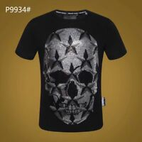 PHILIPP PLEIN Black Robot Beading Men Casual T-shirt P9934# Size M-3XL