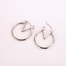 Women Fashion Round Dangle Simple Pendant Gold Silver Alloy Earrings Jewelry