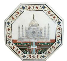 18 Inches Marble Coffee Table Top with MOP Taj Mahal Replica Inlaid Side Table