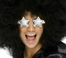 70s 80s Silver Rock Star Glasses Celebrity Comedy Fancy Dress Accessory
