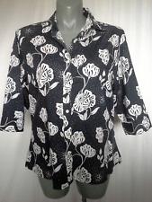 Ladies 3/4 Sleeve Shirt Blouse Top Black & White Floral 100% Cotton Size 18-22