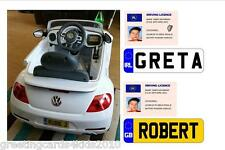 Personalised Novelty Kids Driving Licence & Number Plate Stickers