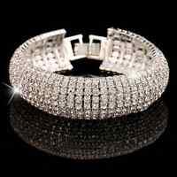 Rhinestone SHINE Fashion Charm Women Crystal Cuff Bracelet Bangle Jewelry Gift
