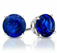 Estate 2 ctw Cut Blue Sapphire Round Stud Sterling Silver Earrings