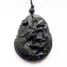 Lucky Dragon Fish Amulet Pendant  00002Aef Black Green Jade Gemstone Happy