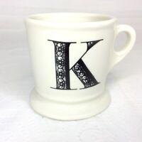 Anthropologie MONOGRAM Letter K White Mug Coffee/Tea Cup Shaving Style Black