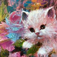 Vintage Mid Century Birthday Greeting Card White Pink Cat Kitten Rust Craft