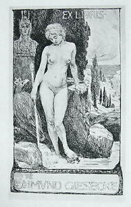 NUDE EX LIBRIS Young Maiden Garden Rocks Stream Statue  - 1922 Lichtdruck Print