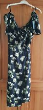 Frontrow Ladies Black Wrap Around Dress with White Flowers - Size 14