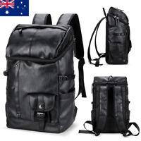 Mens Black Leather Travel Backpack Rucksack Laptop Bag School Satchel Handbag